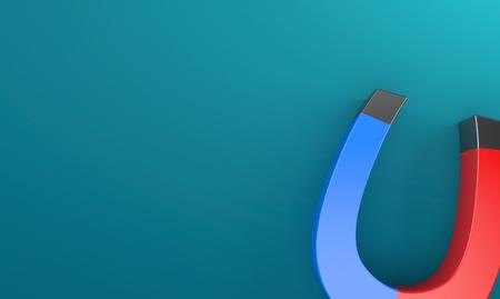 Horseshoe magnet on blue background. 3d illustration