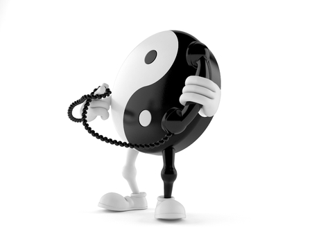 Jing Jang character holding a telephone handset isolated on white background. 3d illustration Stock Photo