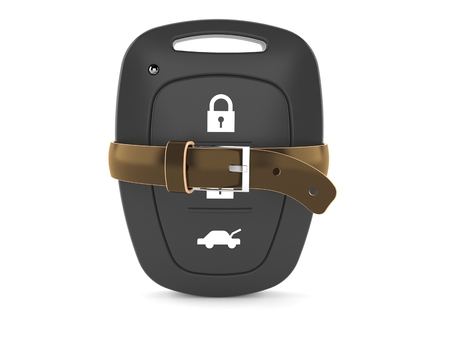 Car remote key with tight belt isolated on white background. 3d illustration
