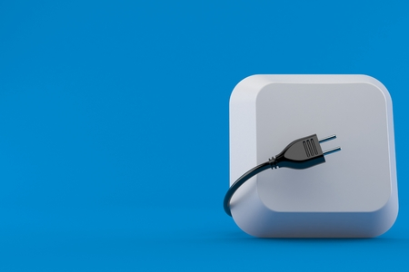 Computer key with electric plug isolated on blue background. 3d illustration Stock Photo