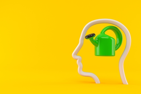 Watering can inside head profile isolated on orange background. 3d illustration