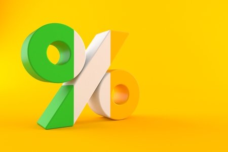Percent symbol with irish flag isolated on orange background. 3d illustration