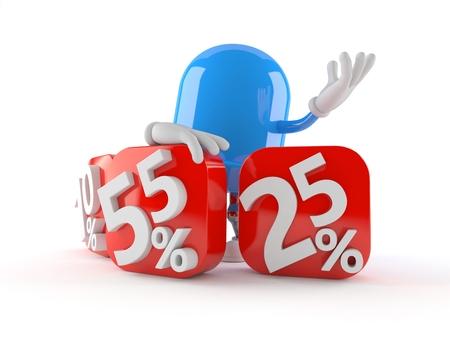 LED character with percent symbols isolated on white background. 3d illustration Stock Photo