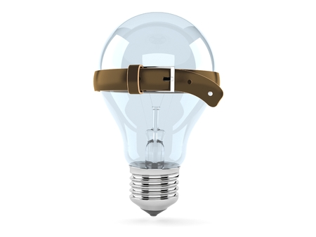 Light bulb with tight belt isolated on white background. 3d illustration
