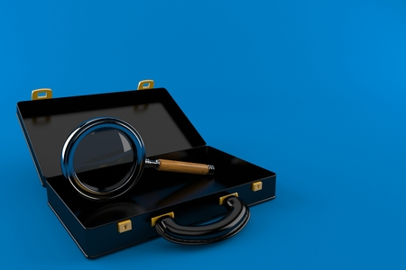 Magnifying glass inside black briefcase isolated on blue background. 3d illustration
