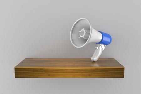 Megaphone on wooden shelf isolated on gray background. 3d illustration