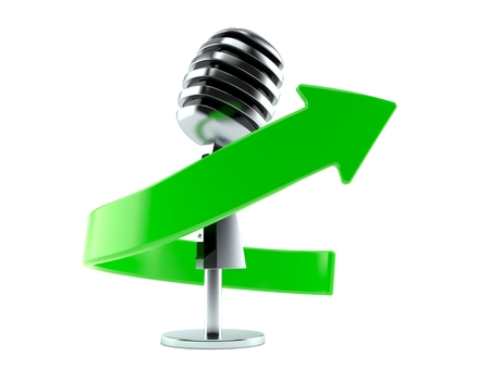 Microphone with green arrow isolated on white background. 3d illustration