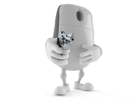 Computer mouse character aiming a gun isolated on white background. 3d illustration