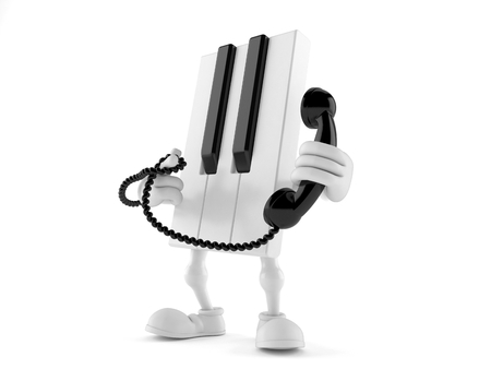 Piano character holding a telephone handset isolated on white background. 3d illustration