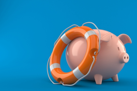 Piggy bank with life buoy isolated on blue background. 3d illustration Stock Photo