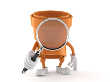 Pipe character looking through magnifying glass isolated on white background. 3d illustration