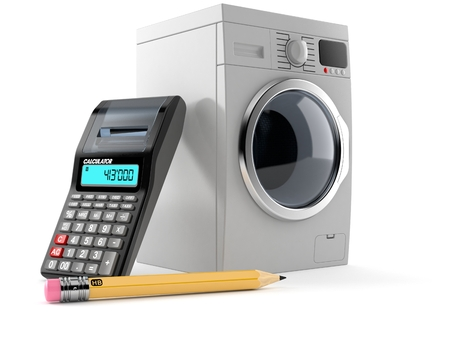 Washing machine with calculator and pencil isolated on white background. 3d illustration