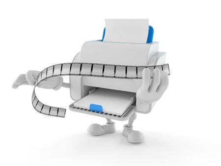 Printer character holding film strip isolated on white background. 3d illustration