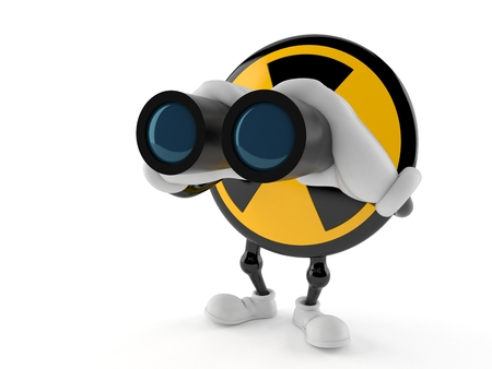 Radioactive character looking through binoculars isolated on white background. 3d illustration Stock Photo