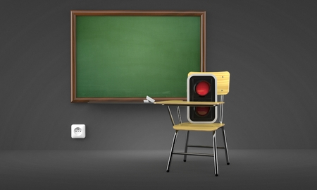 Red traffic light inside classroom isolated on gray background. 3d illustration