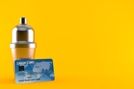 Cocktail shaker with credit card isolated on orange background. 3d illustration