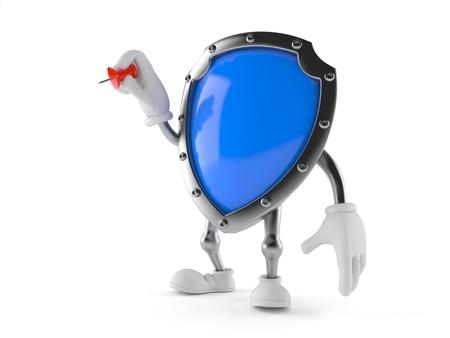 Shield character holding thumbtack isolated on white background. 3d illustration