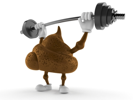 Poop character lifting heavy barbell isolated on white background. 3d illustration