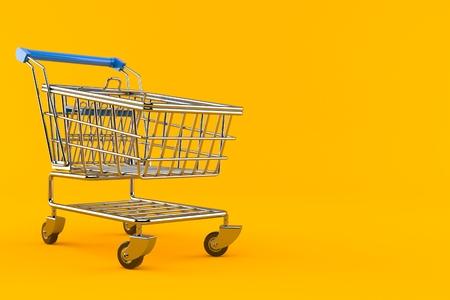 Shopping cart isolated on orange background. 3d illustration Stock Photo