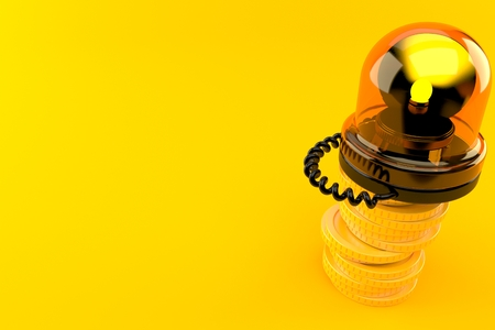 Emergency siren with stack of coins isolated on orange background. 3d illustration