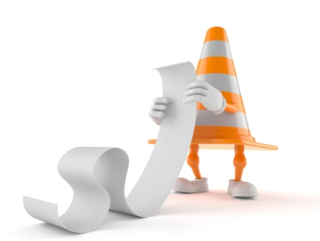 Traffic cone character reading a long list isolated on white background. 3d illustration