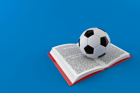 Soccer ball on open book isolated on blue background. 3d illustration