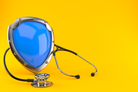 Shield with stethoscope isolated on orange background. 3d illustration