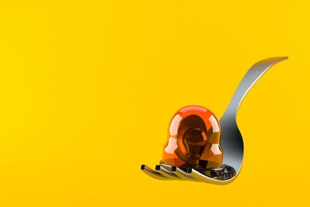 Fork with emergency siren isolated on orange background. 3d illustration Stock Photo