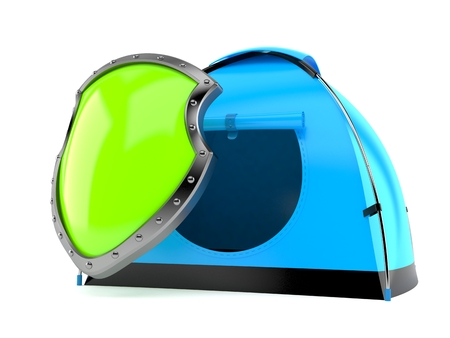 Tent with protective shield isolated on white background. 3d illustration Stock Photo