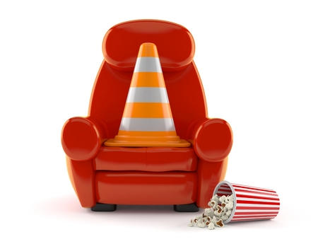 Traffic cone with theater armchair and popcorn isolated on white background. 3d illustration