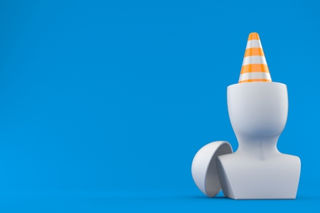 Traffic cone inside head isolated on blue background. 3d illustration Stock Photo