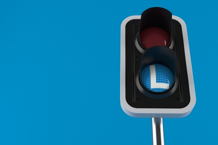 Driving lessons concept isolated on blue background. 3d illustration