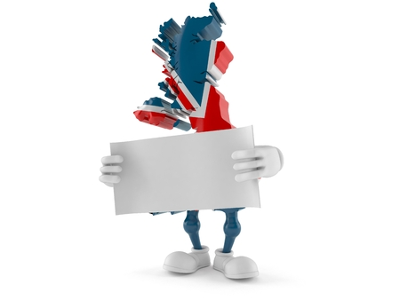 UK character holding blank sheet of paper isolated on white background. 3d illustration Stock Photo