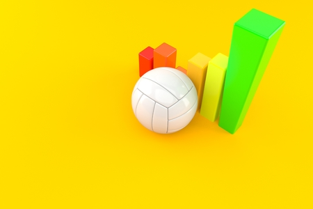 Volleyball ball with chart isolated on orange background. 3d illustration