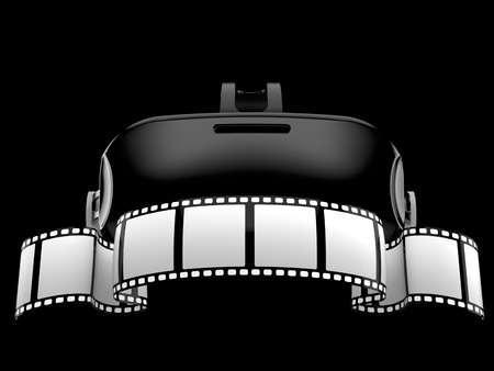 VR headset with film strip isolated on black background. 3d illustration