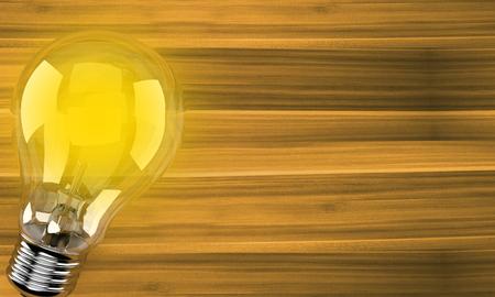 Light bulb on wooden background. 3d illustration