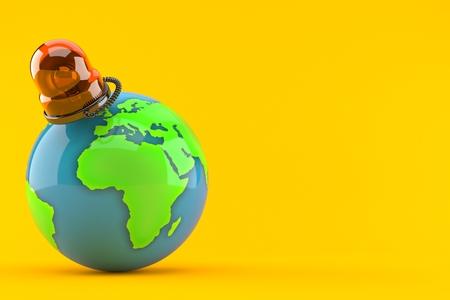 World globe with emergency siren isolated on orange background. 3d illustration