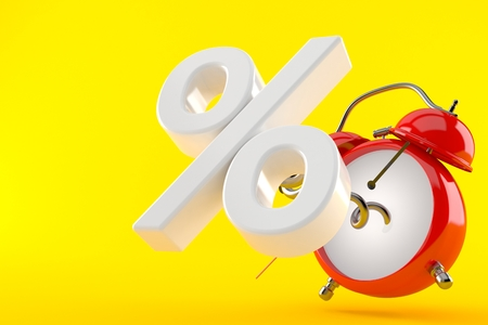 Alarm clock with percent symbol isolated on orange background. 3d illustration Stock Photo