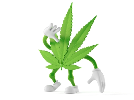Cannabis character looking up isolated on white background. 3d illustration