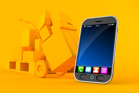 Delivery background with smart phone in orange color. 3d illustration Stockfoto