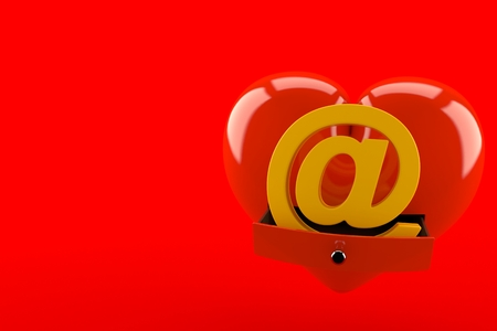 E-mail symbol inside heart isolated on red background. 3d illustration Banco de Imagens