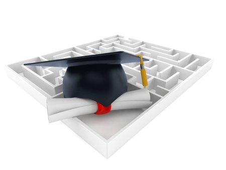 Mortarboard with certificate in maze isolated on white background. 3d illustration