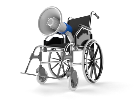 Megaphone with wheelchair isolated on white background. 3d illustration