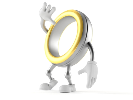Wedding ring character looking up isolated on white background. 3d illustration