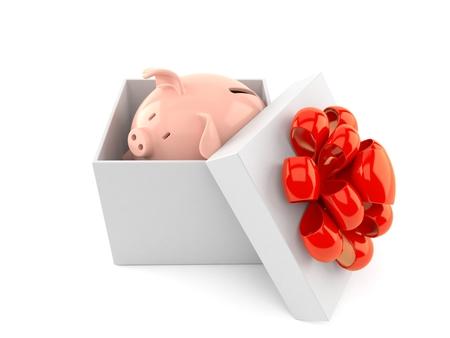 Piggy bank inside gift isolated on white background. 3d illustration Stock Photo