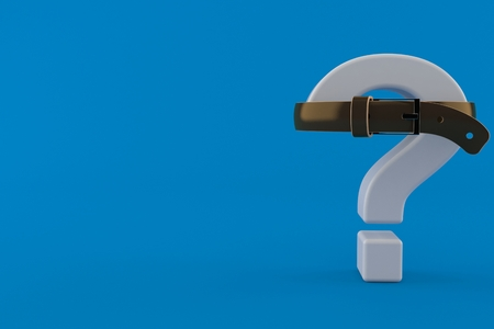 Question mark squeezed by belt isolated on blue background. 3d illustration Stock Photo
