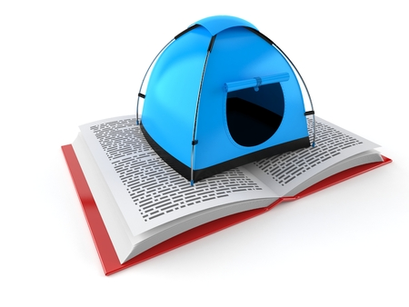 Tent on open book isolated on white background. 3d illustration