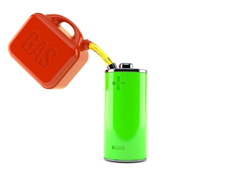 Green battery with gasoline can isolated on white background. 3d illustration