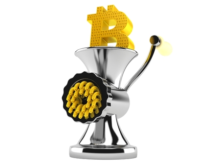Bitcoin symbol inside mincer isolated on white background. 3d illustration