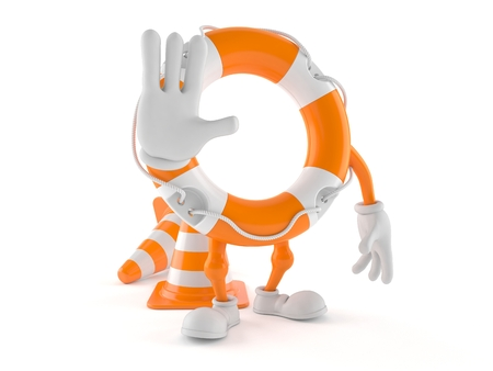 Life buoy character with stop gesture isolated on white background. 3d illustration